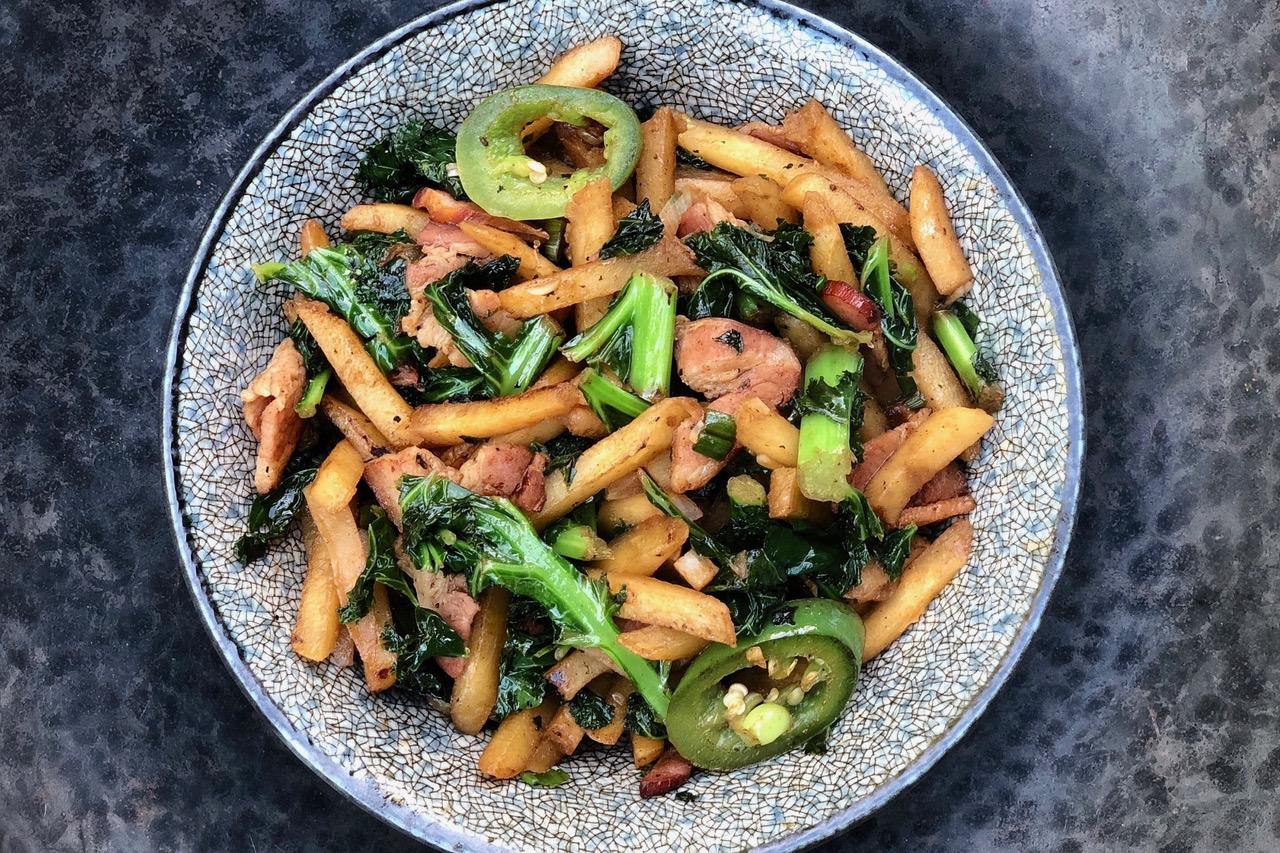 kale, potatoes, bacon stir-fry